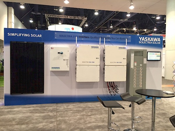 A sample decentralized system showing our 1500V string combiner (DISCOM 1500) and 1500V PV inverters (SOLECTRIA 100-1500).